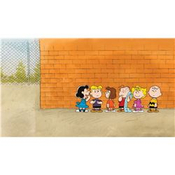 """Charlie Brown"" ""Linus"" and gang production cel on a pan bg from a Peanuts TV special."
