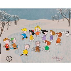 """Peanuts limited edition cel from A Charlie Brown Christmas entitled, """"The Great Skate""""."""