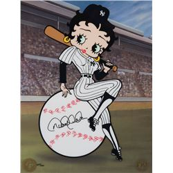 """Betty Boop"" baseball sericel signed by Derek Jeter."