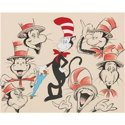 """Cat in the Hat"" production model drawing & cel overlay for The Grinch Grinches the Cat in the Hat."
