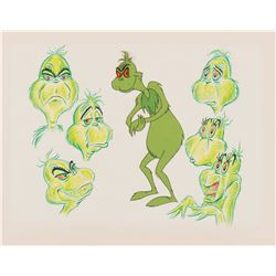 """Grinch"" production model drawing with cel overlay for The Grinch Grinches the Cat in the Hat."
