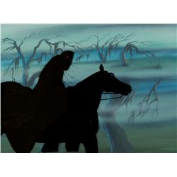 """Ringwraith"" production cel and matching production drawing from The Lord of the Rings."