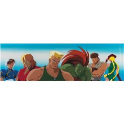 Colonel William F. Guile and his fighters pan production cels & background from Street Fighter.