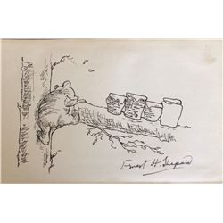 "E. H. Shepard drawing of ""Winnie the Pooh""."