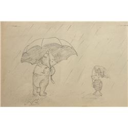 "E. H. Shepard drawing of ""Winnie the Pooh"" and ""Piglet""."