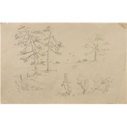 """E. H. Shepard drawing of """"Winnie the Pooh"""" and """"Rabbit""""."""
