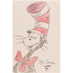 """Dr. Seuss colored drawing of """"Cat in the Hat""""."""