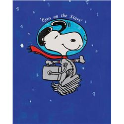 """Charles Schulz illustration painting of """"Snoopy"""" in space for NASA."""