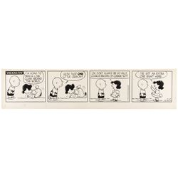 "Charles Schulz original Peanuts comic strip featuring ""Charlie Brown"" and ""Lucy""."