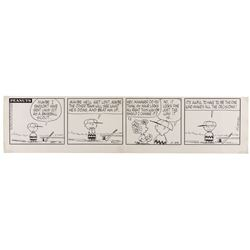 "Charles Schulz original Peanuts baseball comic strip featuring ""Charlie Brown"" and ""Sally""."