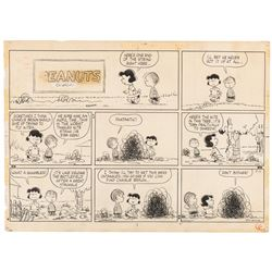 """Charles Schulz original Peanuts Sunday strip featuring """"Charlie Brown"""", """"Linus"""" and """"Lucy""""."""