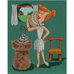 """Wilma Flintstone"" original illustration painting for The Flintstones tray puzzle."