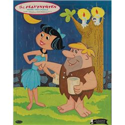 """Barney Rubble"" and ""Betty Rubble"" original illustration painting for The Flintstones tray puzzle."