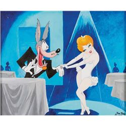 """Tom Ray painting of """"Red Hot"""" and """"Wolf"""" from Tex Avery's Swing Shift Cinderella."""