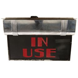 """""""In Use"""" lighted sign for the projection room at Disney Studios, Burbank and large photo."""