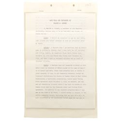 Walt Disney signed Last Will and Testament.