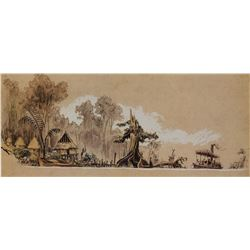 Harper Goff owned Disneyland's Jungle Cruise lithograph.