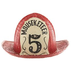 Cubby O'Brien's original Mousketeer #5 fire hat from The Mickey Mouse Club.