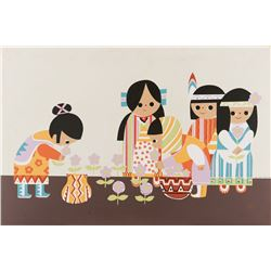 Mary Blair silkscreen print of concept artwork inspired by It's a Small World.