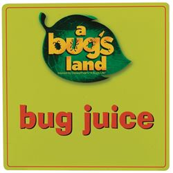 """Disneyland (2) A Bug's Land """"Bug Juice"""" and """"Shuttle"""" signs."""