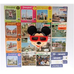 Mickey Mouse View Master and large collection of slides in original packaging.