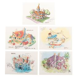 Disneyland (5) concept paintings prints of Toontown signed by the artists.