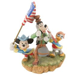 "Disney limited edition bicentennial figurine featuring ""Mickey"", ""Goofy"" and ""Donald""."