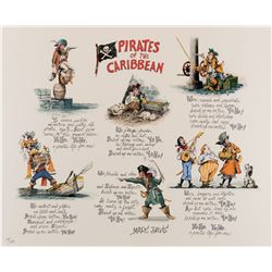 Disneyland Pirates of the Caribbean limited edition lithograph signed by Marc Davis.