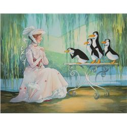 "Toby Bluth signed limited edition giclée featuring ""Mary Poppins"" and ""Penguins""."