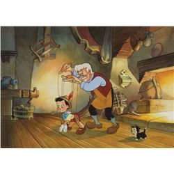"Toby Bluth signed limited edition giclée featuring ""Geppetto"" and ""Pinocchio""."