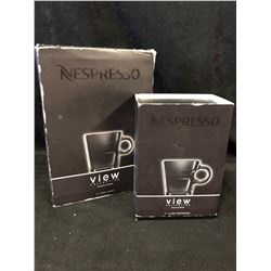 NESPRESSO 'VIEW' Collection 2 Espresso Coffee Cups & 2 St. Steel Saucers ~NIB~