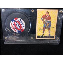 DICKIE MOORE AUTOGRAPHED CARD W/ HOCKEY PUCK DISPLAY