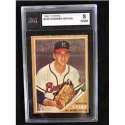 1962 #100 WARREN SPAHN (8 NMM) KSA GRADED