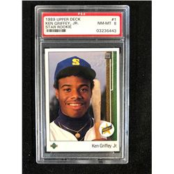 1989 UPPER DECK #1 KEN GRIFFEY JR. STAR ROOKIE (NM-MT 8) PSA