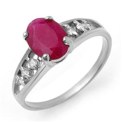 1.70 CTW Ruby & Diamond Ring 18K White Gold - REF-33N5Y - 13959