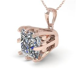 1 CTW VS/SI Princess Diamond Necklace 18K Rose Gold - REF-280F2N - 35717