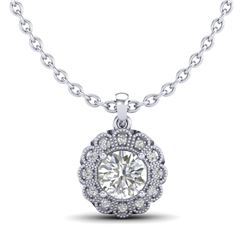 1.15 CTW VS/SI Diamond Solitaire Art Deco Stud Necklace 18K White Gold - REF-315M2H - 37055