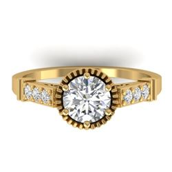 1.22 CTW Certified VS/SI Diamond Solitaire Art Deco Ring 14K Yellow Gold - REF-347T8M - 30536