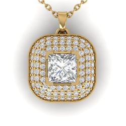 1.60 CTW Princess VS/SI Diamond Art Deco Stud Micro Halo Necklace 14K Yellow Gold - REF-428F2N - 304