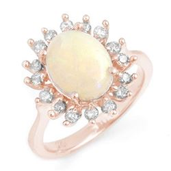 1.78 CTW Opal & Diamond Ring 14K Rose Gold - REF-87K3W - 13267