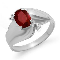 1.08 CTW Ruby & Diamond Ring 14K White Gold - REF-25K5W - 12785