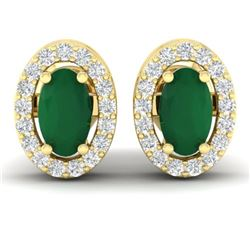 1.02 CTW Emerald & Micro Pave VS/SI Diamond Earrings Halo 18K Yellow Gold - REF-34K5W - 21186