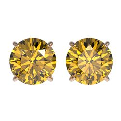 2 CTW Certified Intense Yellow SI Diamond Solitaire Stud Earrings 10K Rose Gold - REF-297A2X - 33089