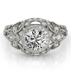 1.25 CTW Certified VS/SI Diamond Solitaire Antique Ring 18K White Gold - REF-223Y6K - 27330