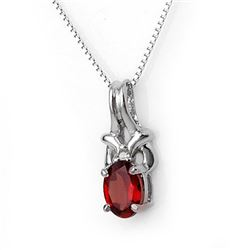 1.0 CTW Garnet & Diamond Necklace 10K White Gold - REF-15T6M - 11431