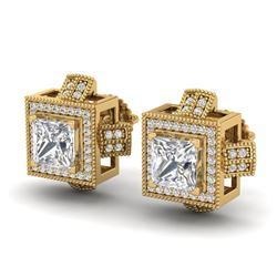 2.75 CTW Princess VS/SI Diamond Micro Pave Stud Earrings 18K Yellow Gold - REF-684A3X - 37189