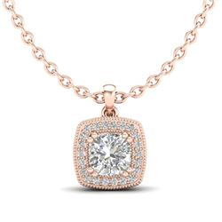 1.25 CTW Cushion VS/SI Diamond Solitaire Art Deco Necklace 18K Rose Gold - REF-315T2M - 37038