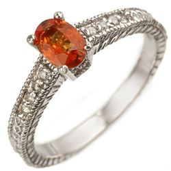 0.81 CTW Orange Sapphire & Diamond Ring 10K White Gold - REF-25N3Y - 10921