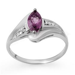 0.37 CTW Amethyst & Diamond Ring 10K White Gold - REF-13F6N - 12437