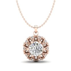 1.2 CTW VS/SI Diamond Art Deco Micro Pave Stud Necklace 18K Rose Gold - REF-220X2T - 36999